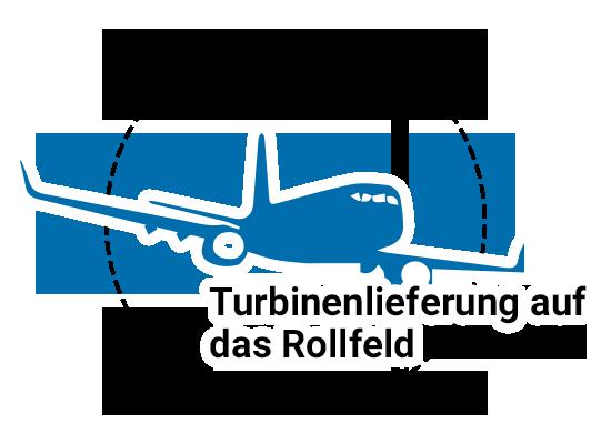 Turbinenlieferung auf das Rollfeld